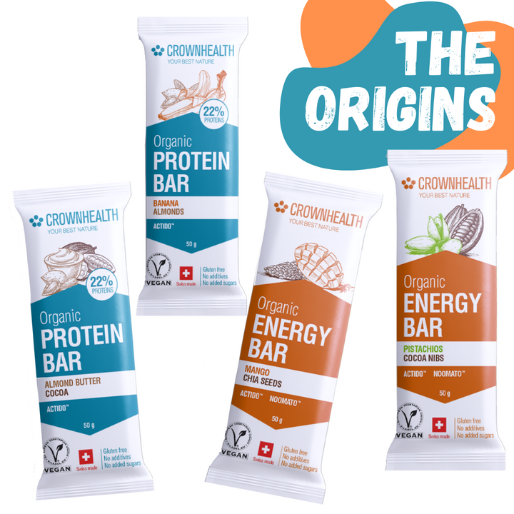 starter kit crownhealth contains vegan energy bars and protein bars. Pistachio and cocoa nibs, mango and chia seeds, almond butter and cocoa, banana and almonds.
