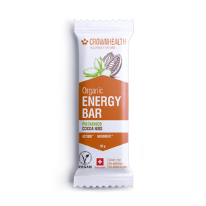organic energy bar by crownhealth with cocoa nibs and pistachio. 50g bar is gluten free no additives and no added sugars.