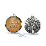 "Silver Tree ""Spread The Sparkle"" Round Pendants"