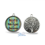 "Silver Tree ""Weird is a Side-Effect of Awesome"" Round Pendants"