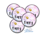 """Bee Happy"" Pinback Buttons"