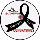 "Personalized Survived Coronavirus 4.5"" Round Magnet, Sticker or Cling Art"
