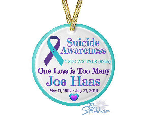 Personalized 'Suicide Awareness One Loss is Too Many' Ornament