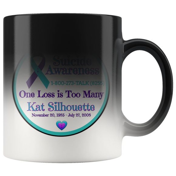 Personalized Suicide Awareness One Loss is Too Many Magic Color Changing Mug