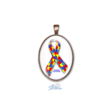 Personalized Awareness Ribbon Oval Pendants