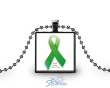 Personalized Awareness Ribbon Square Pendants