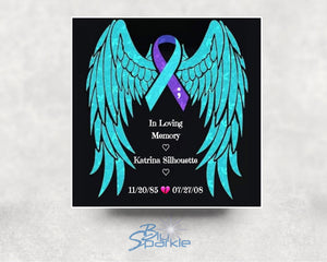 "Personalized Suicide Awareness Ribbon 6""x6"" Magnet, Sticker or Cling Art"