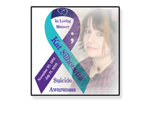 "Personalized Photo & Suicide Awareness Ribbon 6""x6"" Magnet, Sticker or Cling Art"