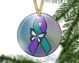 """Suicide Awareness Butterfly Ribbon"" Ornament"
