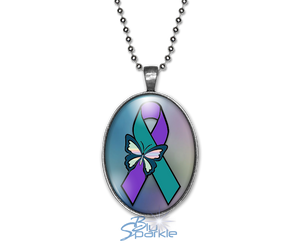 """Suicide Awareness Butterfly Ribbon"" Oval Pendants"