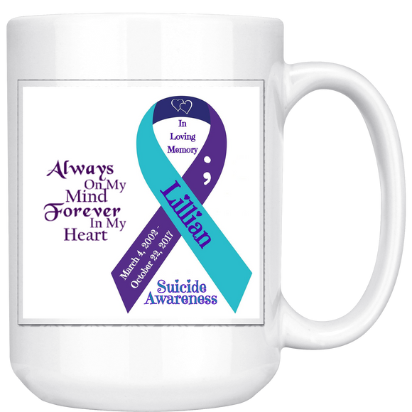 Personalized Awareness Ribbon & Quote 15oz mug