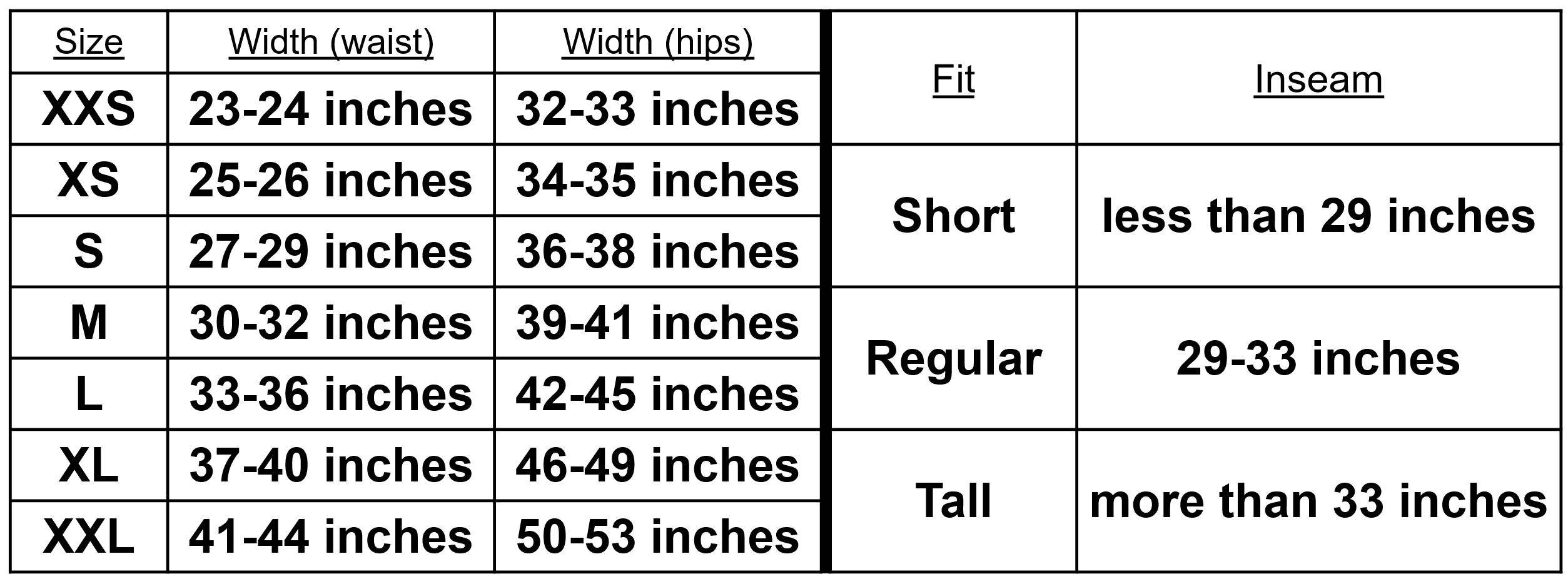 Sizing Guide - Pants
