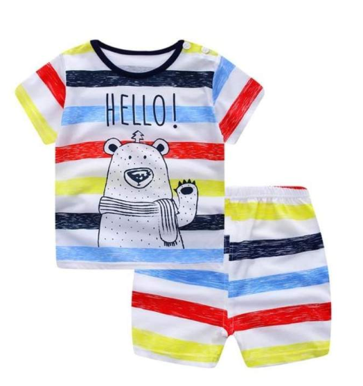 summer short-sleeved suit cotton boy girls two-piece sets