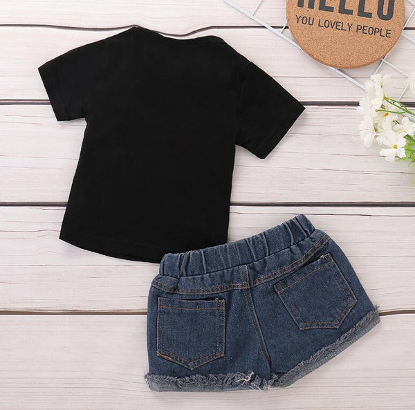 Black short-sleeved denim shorts children's suit | KIDZOYA