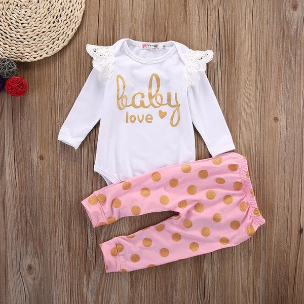 Baby girls Love Onsie and Pants 2pc set | KIDZOYA