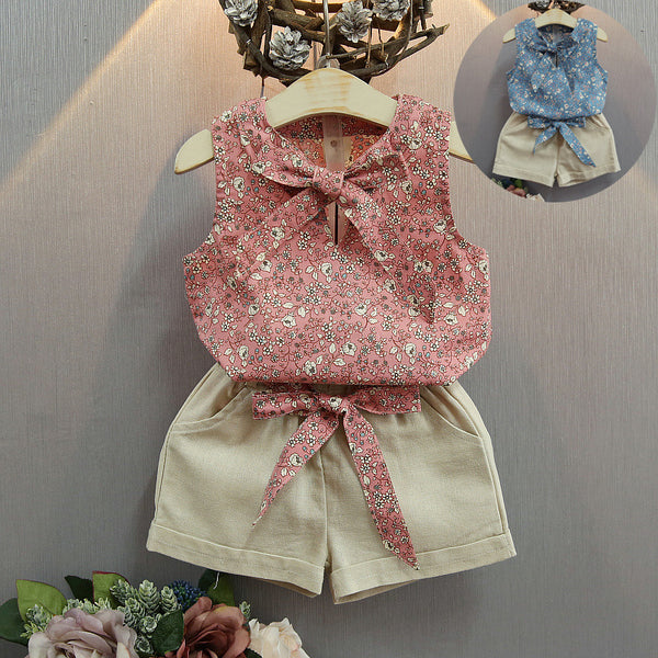 Sleeveless Bow Vest Plus Shorts Set | KIDZOYA
