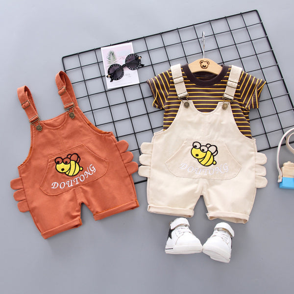 Summer denim strap shorts boys casual Korean bee short sleeve two-piece suit | KIDZOYA