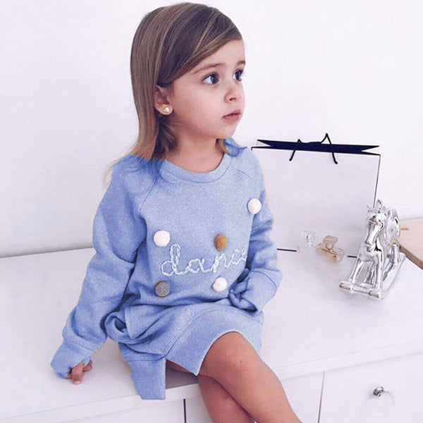 Girls dress long sleeve letter ball sweater | KIDZOYA
