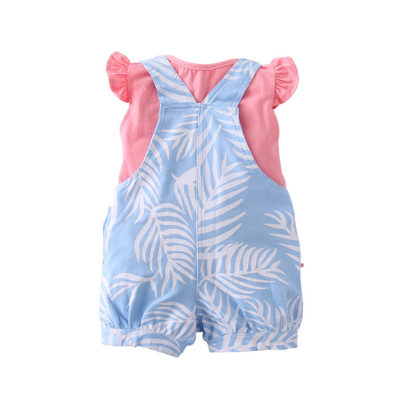 The new baby girls T-shirt pure cotton  straps shorts and short sleevee suit | KIDZOYA