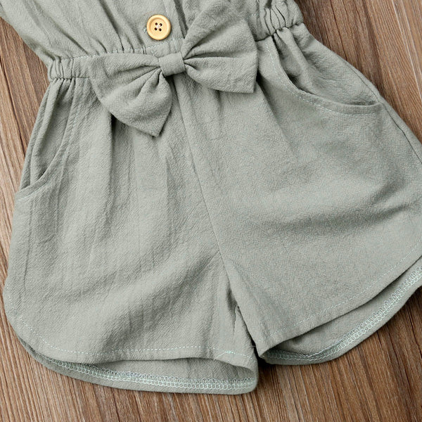 Girls bow jumpsuit shorts | KIDZOYA