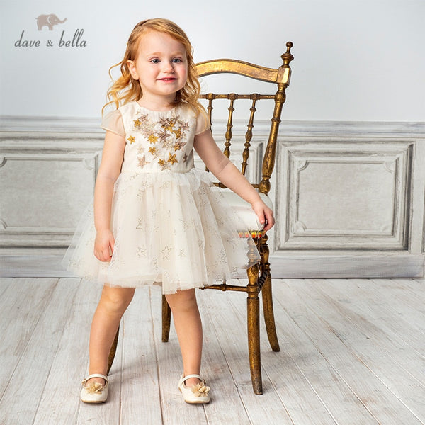 DB11708 Summer Baby Girl's Princess Stars Appliques Dress Party Kids | KIDZOYA