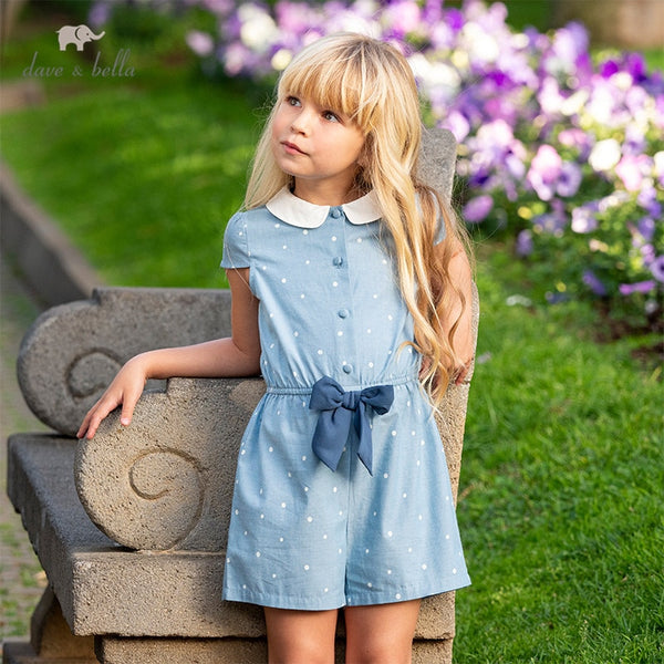 DKS13434 Summer Baby Girls Fashion Bow Dots Jumpsuit