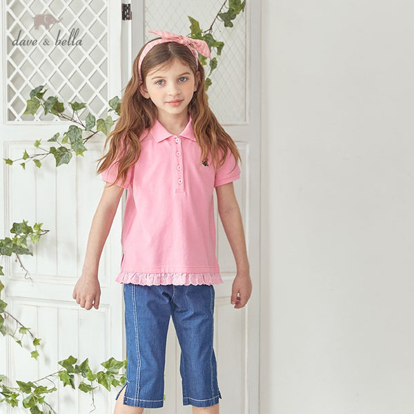 DKH13209 Summer Kids Clothes Children Floral Ruched T-shirt Girls