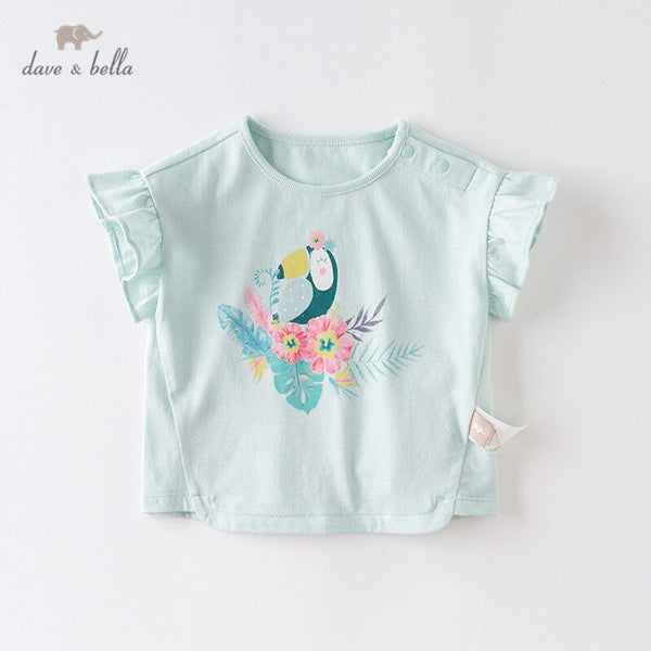 DBM13546 Summer Baby Girls Cute Cartoon Floral T-shirt
