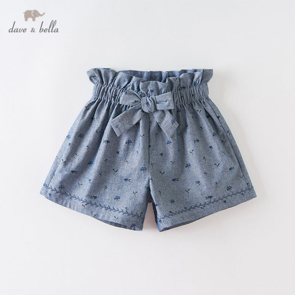 DKS13447-2 Summer Kids Girls Fashion Bow Print Shorts