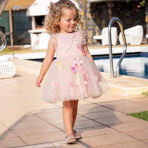 DB12985 Summer Baby Girl's Cute Floral Embroidery Dress Party