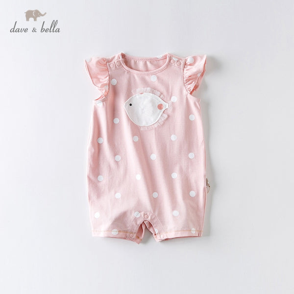 DBW13511 Summer New Born Baby Girls Cartoon Dots Jumpsuits