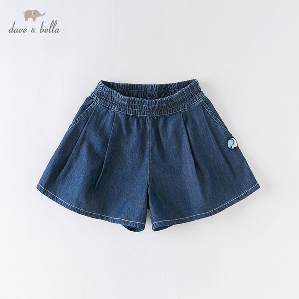 DKH13272 Summer Kids Girls Fashion Cartoon Solid Pockets Shorts
