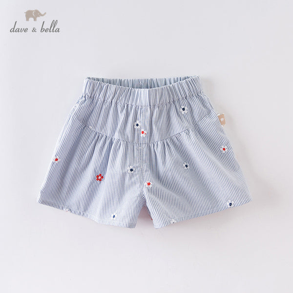 DB13613 Summer Baby Girls Fashion Striped Floral Shorts