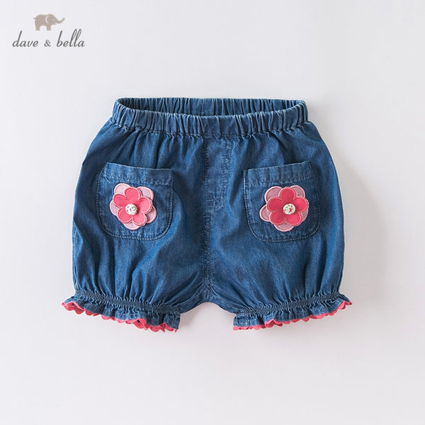 DBJ13903 summer baby girls fashion floral pockets shorts kids | KIDZOYA