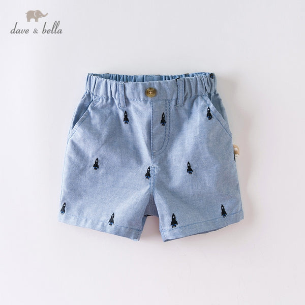 DBW14079-2 Summer Baby Boys Fashion Cartoon Embroidery Shorts