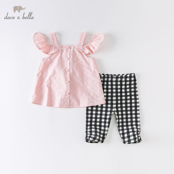 DKS13418 Summer Baby Girls Ruched Plaid Clothing Sets Lovely Suits