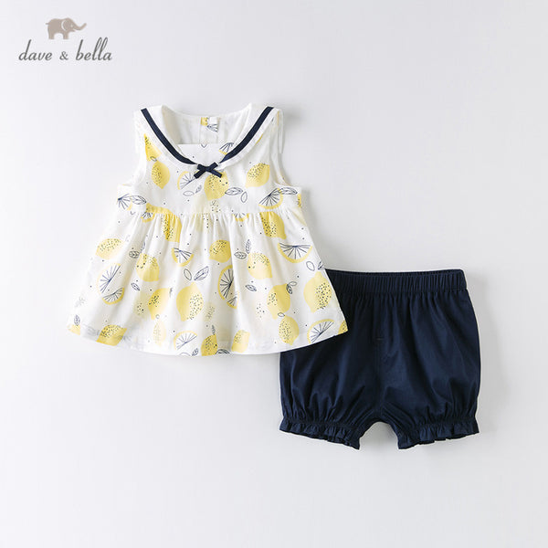 DB13060 Summer Baby Girls Fashion Bow Fruit Clothing Sets