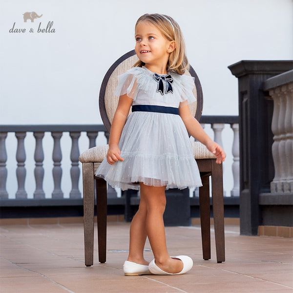DB13090 Summer Baby Girl's Princess Bow Solid Party Fashion Dress | KIDZOYA