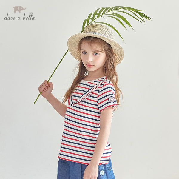 DKH13292 Summer  Kids Clothes Fashion Ruched T-shirt Girls