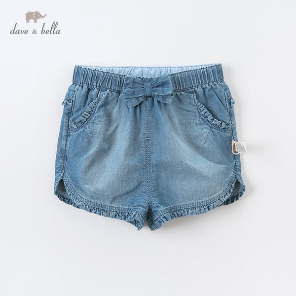 DBS12654 Summer Baby Girls Fashion Bow Solid Pockets Shorts Children | KIDZOYA