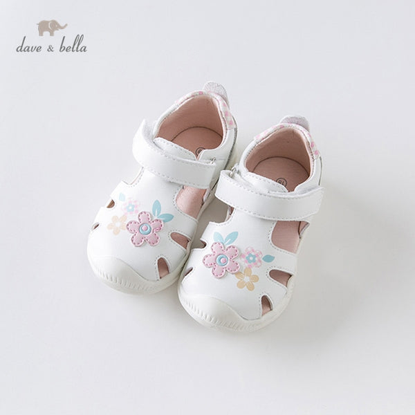 DB13743 Summer Baby Girl New Born Infant Shoes White Floral Shoes | KIDZOYA