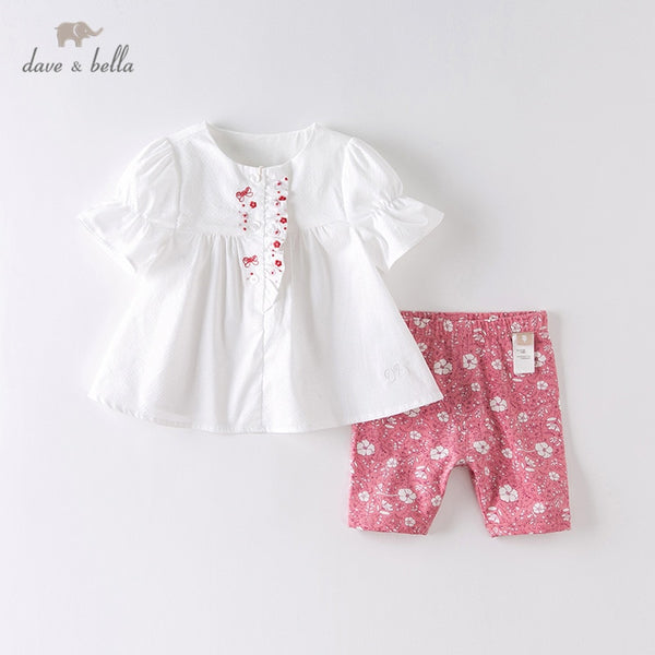 DBJ13461 Summer Baby Girls Fashion Floral Embroidery Ruched Sets | KIDZOYA