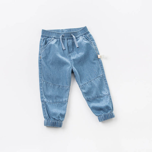 spring baby boys fashion denim blue denim solid jean kids pants children boutique trousers | KIDZOYA
