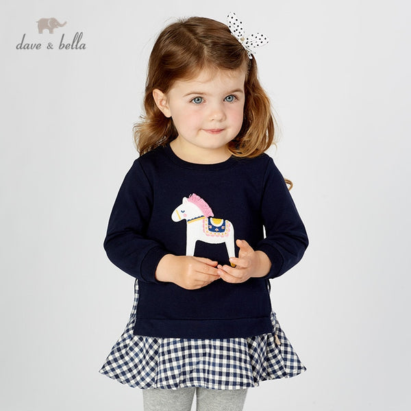 autumn baby girls T-shirt children cute cartoon plaid long sleeve tops girls pullover kids tees | KIDZOYA