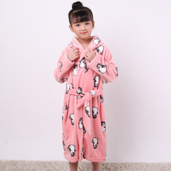 Cartoon Robe Children Flannel Child Bathrobe Kids Boys Girls Robes Lovely Animal Hooded | KIDZOYA