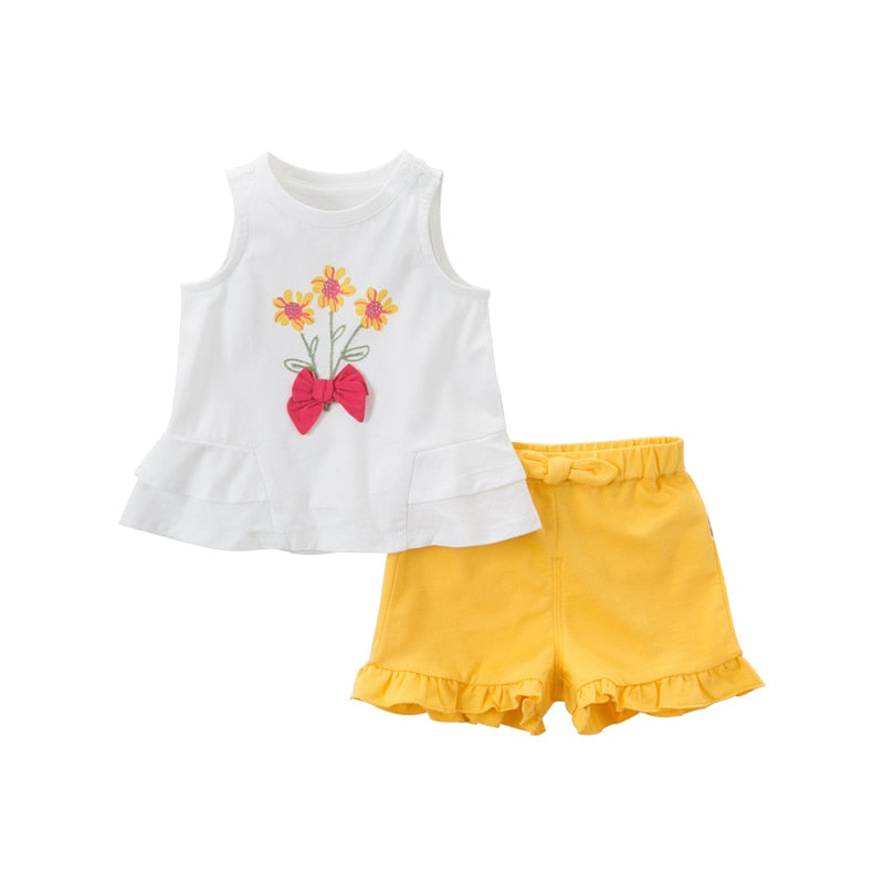 DBS13863 Summer Baby Girls Fashion Bow Floral Sleeveless Sets