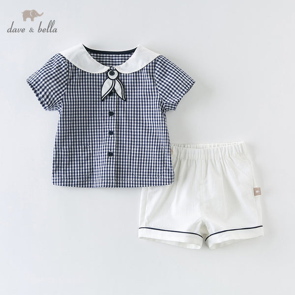 DB12931 Summer Baby Boys Fashion Sets Casual Blue White Plaid | KIDZOYA