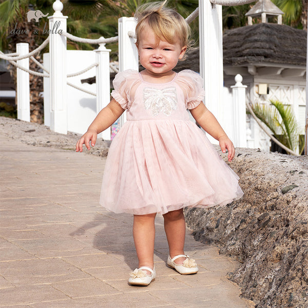 DB13147 Summer Baby Girl's Princess Cartoon Mesh Dress Fashion