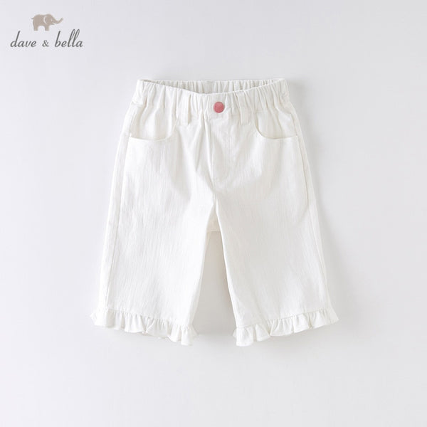 DKH13283 Summer Kids Girls Fashion Solid Ruched Pockets Pants