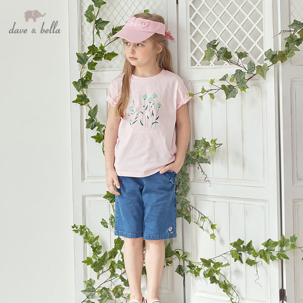 DKH13188 Summer Kids Clothes Floral Appliques T-shirt Girls